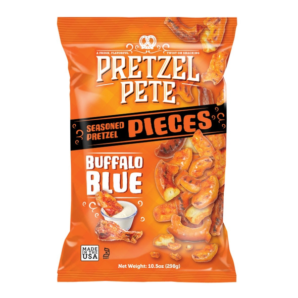 Pretzel Pete 10.5 oz. Buffalo Blue Broken Pretzel Pieces