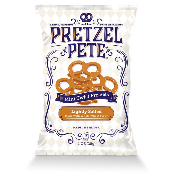 Pretzel Pete 1 oz. Whole Wheat Lightly Salted Mini Twists (20 Pack)