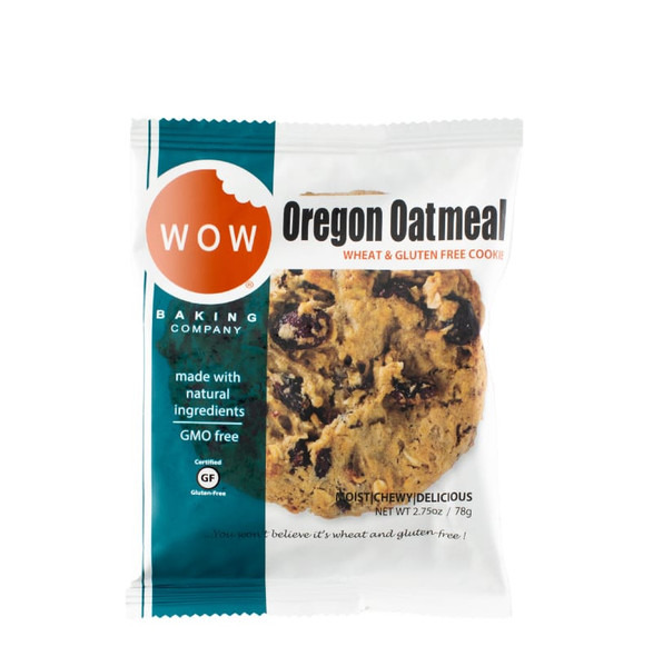 WOW Baking Co. 2.75 oz. Individually Wrapped Gluten Free Oregon Oatmeal Cookies (Case of 12)