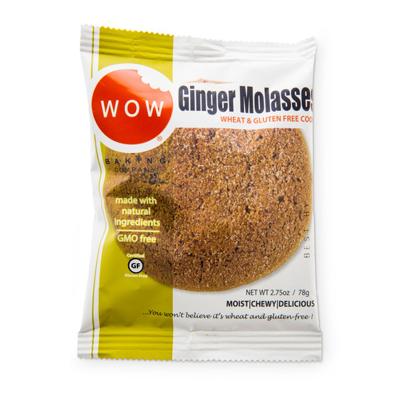 WOW Baking Co. 2.75 oz. Individually Wrapped Gluten Free Ginger Molasses Cookies (Case of 12)
