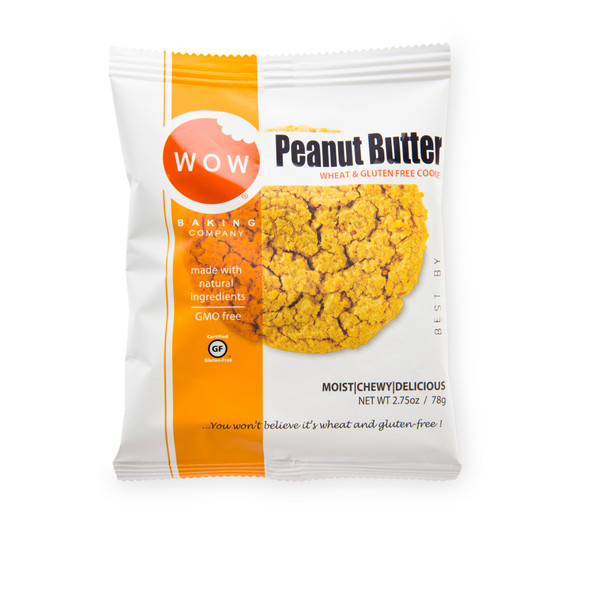 WOW Baking Co. 2.75 oz. Individually Wrapped Gluten Free Peanut Butter Cookies (Case of 12)