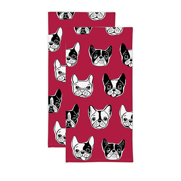 MU Kitchen™ Canines Kitchen Towels in Red (Set of 2)