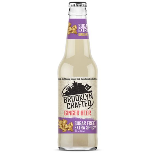 Brooklyn Crafted 12 oz. Bottle Non-Alcoholic Sugar Free Extra Spicy Ginger Beer (4 Pack)