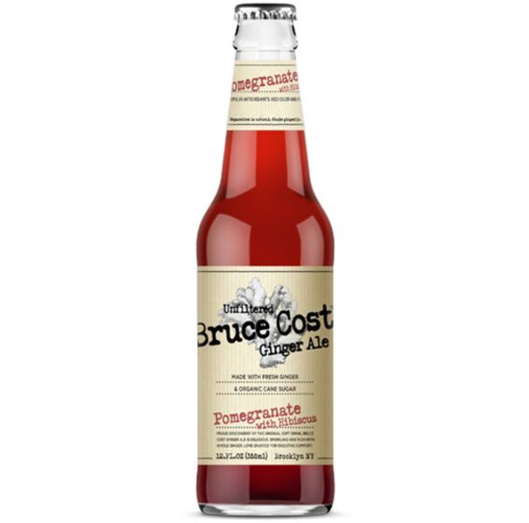 Bruce Coast 12 oz. Bottle Pomegranate with Hibiscus Ginger Ale (4 Pack)