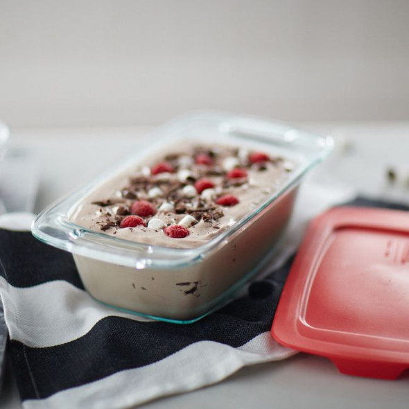 Pyrex® 1.5-Quart Glass Loaf Pan with Red Lid