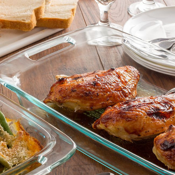 Pyrex® 8-Piece Glass Bakeware and Storage Container Set with Blue Lids