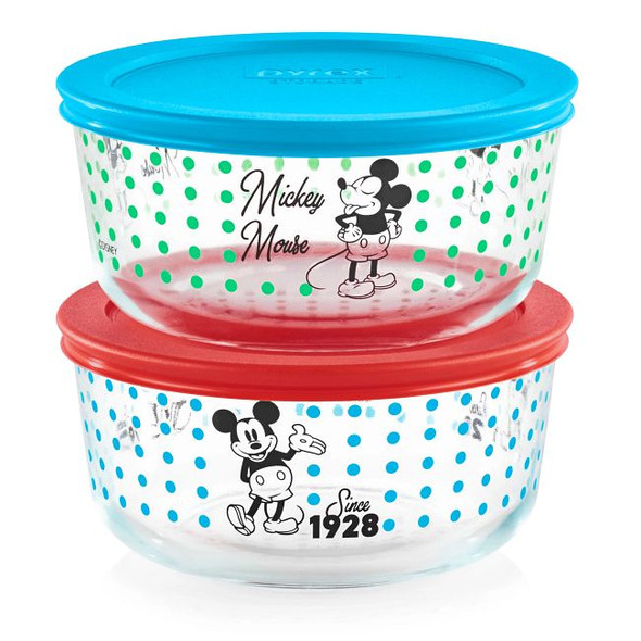 Pyrex® 4-Cup Decorated Storage 4-Piece Mickey Mouse™ / Since 1928 Set