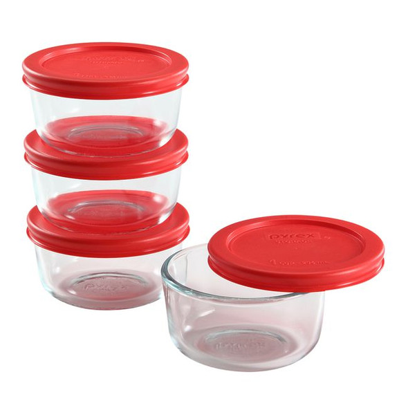 Pyrex® 8-Piece Glass Food Storage Container Set with Red Lids
