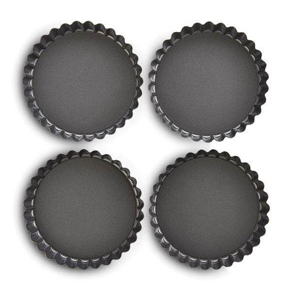 Mrs. Anderson's Baking 4.25-Inch Non-Stick Round Quiche Pan (Set of 4)