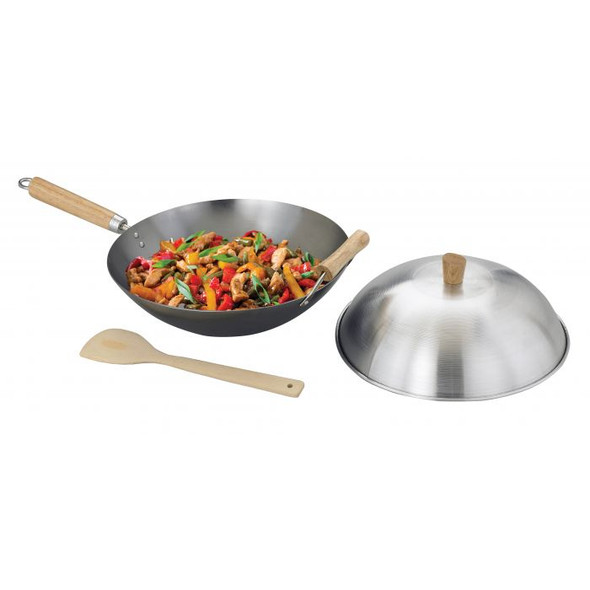 Helen's Asian Kitchen 13.5-Inch Carbon Steel Stir Fry Pan with Lid