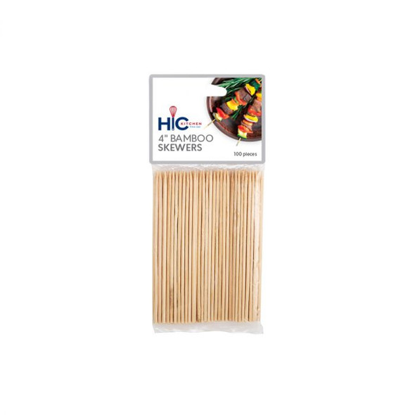 "HIC Kitchen 4"" Bamboo Skewer (Pack of 100)"