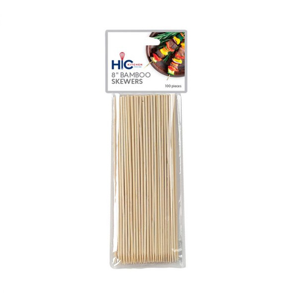 "HIC Kitchen 8"" Bamboo Skewer (Pack of 100)"