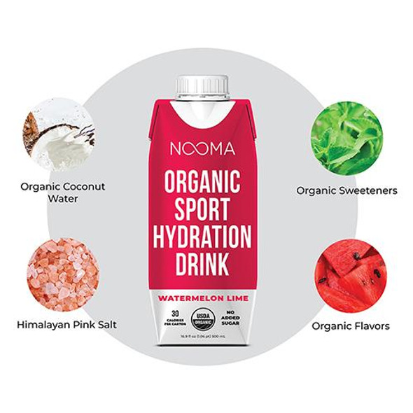 NOOMA Watermelon-Lime 16.9 oz. Organic Electrolyte Sports Drinks (12 Pack)