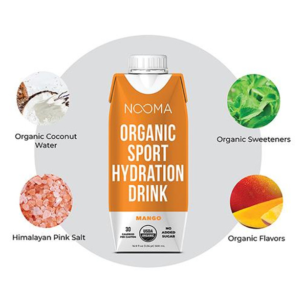 NOOMA Mango 16.9 oz. Organic Electrolyte Sports Drinks (12 Pack)