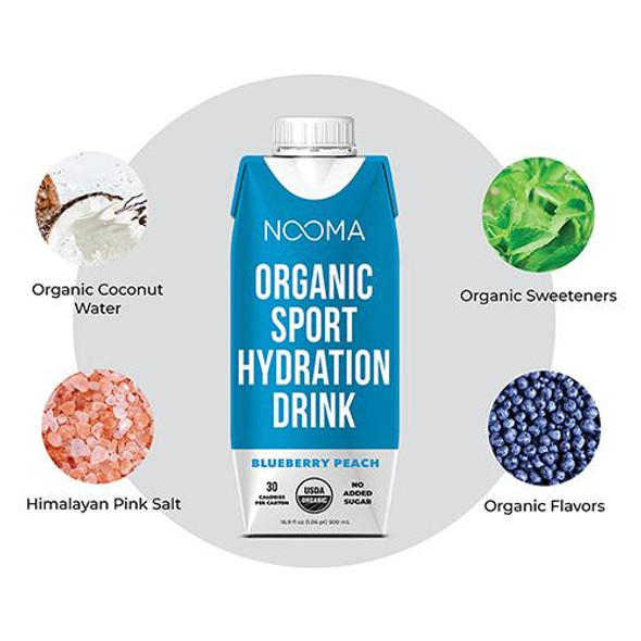NOOMA Blueberry Peach 16.9 oz. Organic Electrolyte Sports Drinks (12 Pack)