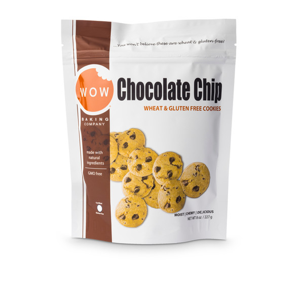 WOW Baking Co. 2.75 oz. Bag Gluten Free Chocolate Chip Cookies (Case of 12)