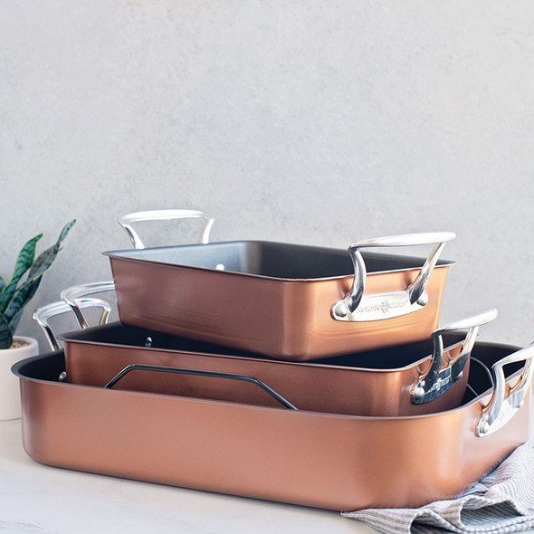 Nordic Ware® Extra Large Rectangular Roaster with Rack in Copper