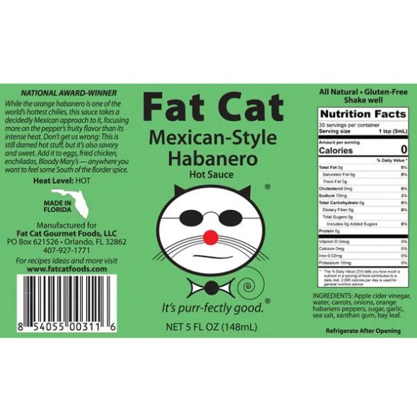 Fat Cat Gourmet Foods 5 oz. Mexican-Style Habanero Hot Sauce