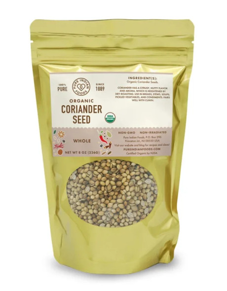 Pure Indian Foods 8 oz. Organic Whole Coriander Seeds