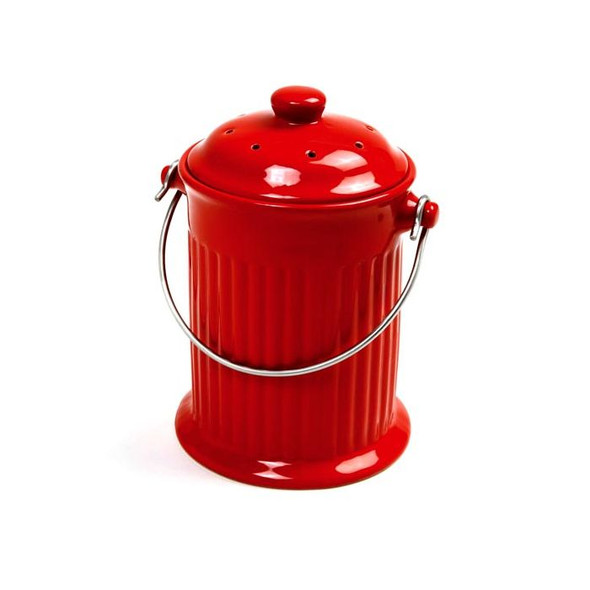 Norpro® Ceramic Compost Crock in Red