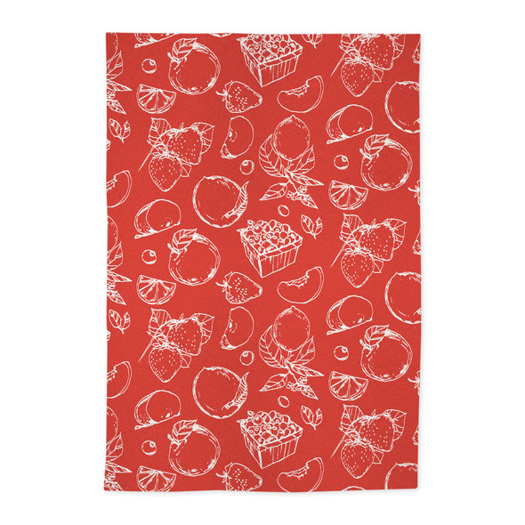 MÜ Kitchen Jacquard Fruit Stand Kitchen Towels in Red (Set of 2)