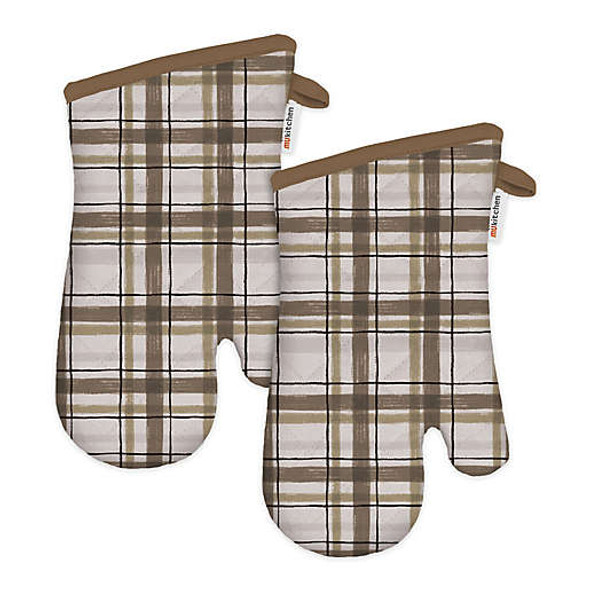 MU Kitchen™ Designer Print Our Home Cotton Oven Mitts in Sand (Set of 2)