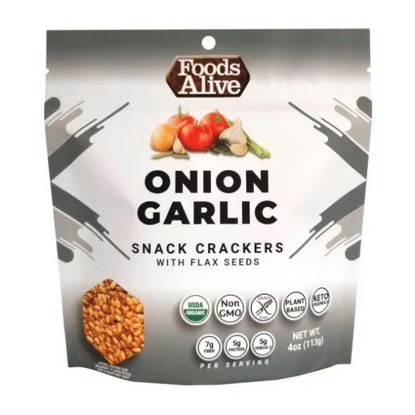 Foods Alive 4 oz. Onion Garlic Flax Crackers (3 Pack)