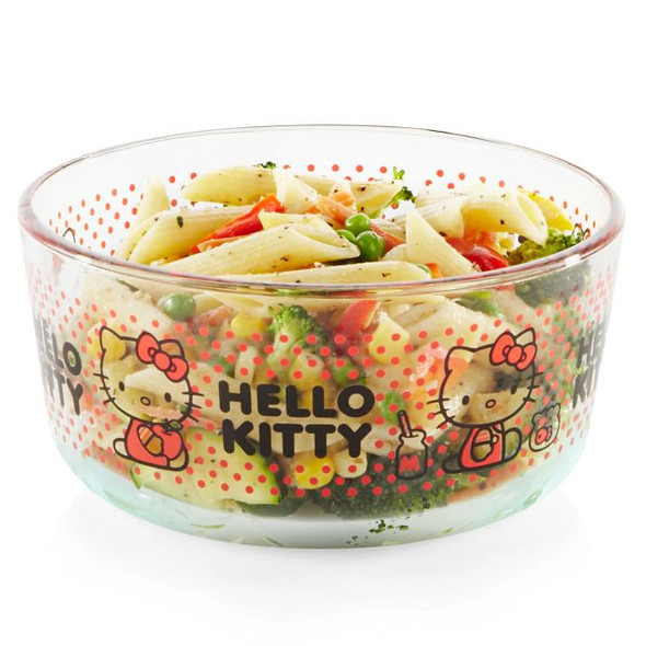 Pyrex® 4-Cup Dotted Hello Kitty Round Glass Storage