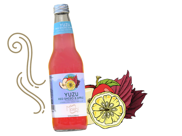 Moshi 12 oz. Yuzu Red Shiso and Apple Sparkling Drink (4 Pack)