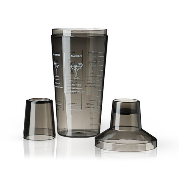 Smoke-Colored Plastic Cocktail Shaker with Recipes by True