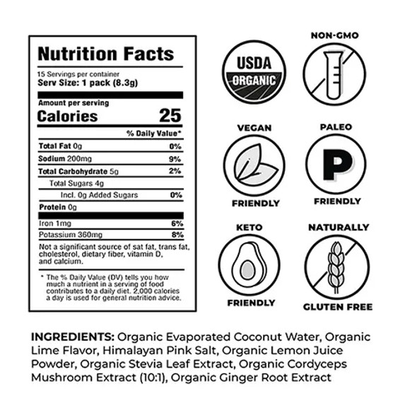 NOOMA Lime Organic Sport Hydration Mix (15 Count)