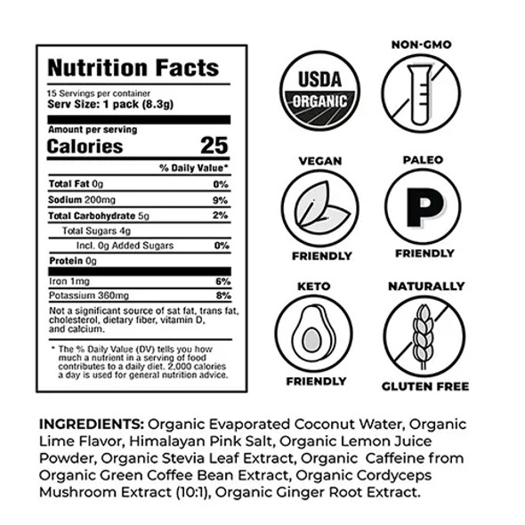 NOOMA Lime + Caffeine Organic Sport Hydration Mix (15 Count)