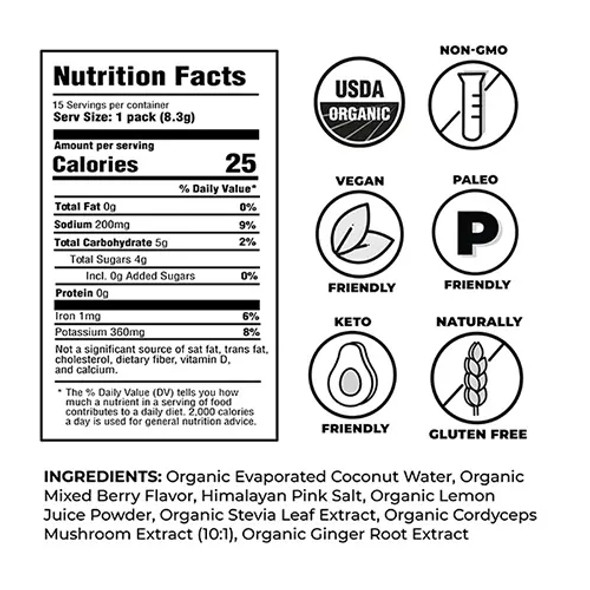 NOOMA Mixed Berry Organic Sport Hydration Mix (15 Count)