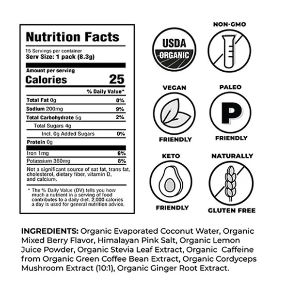 NOOMA Mixed Berry + Caffeine  Organic Sport Hydration Mix (15 Count)