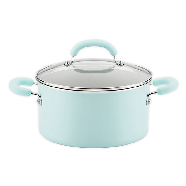 Rachael Ray™ Create Delicious Nonstick 6 qt. Aluminum Covered Stock Pot in Light Blue