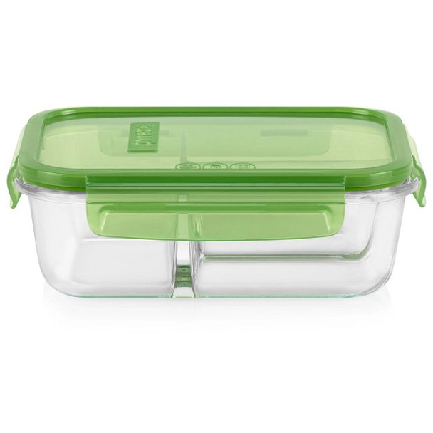Pyrex® MealBox™ 4.1-cup Divided Glass Food Storage Container with Green Lid