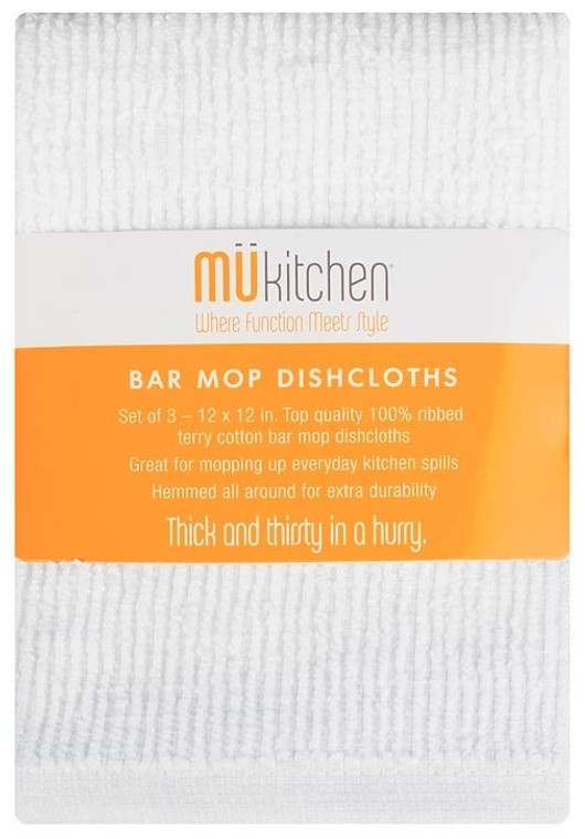 Mu Kitchen™ 3-Pack Bar Mop Dishcloth in White