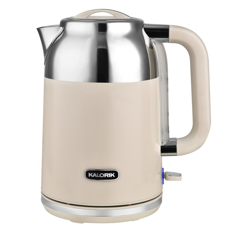 Kalorik Retro 1.7 Liter Cordless Stainless Steel Electric Kettle in Ivory/White
