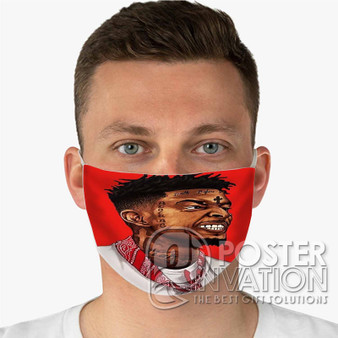 21 Savage Custom Fabric Face Mask Fashionable Two Layer Polyester