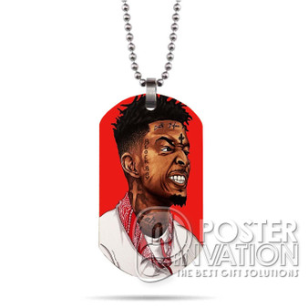 21 Savage Custom Stainless Steel Military Dog Tag Necklace Pendant