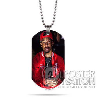 21 Savage Rapper Custom Stainless Steel Military Dog Tag Necklace Pendant