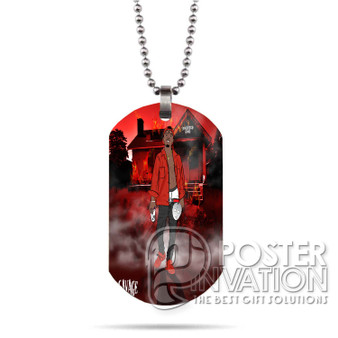 21 Savage Slaughter Gang Custom Stainless Steel Military Dog Tag Necklace Pendant