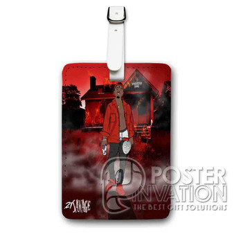 21 Savage Slaughter Gang Custom Luggage Tag PU Leather Travel Bag Tag Strap Identity