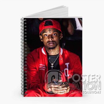 21 Savage Rapper Custom Spiral Notebook Ruled Line Front Cover Book Case Perfect Gift