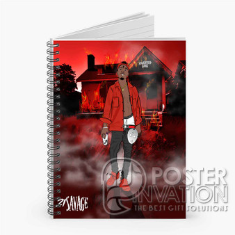 21 Savage Slaughter Gang Custom Spiral Notebook Ruled Line Front Cover Book Case Perfect Gift