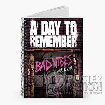 A Day To Remember Bad Vibes Tour Custom Spiral Notebook Ruled Line Front Cover Book Case Perfect Gift