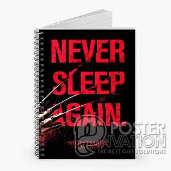 A Nightmare On Elm Street Never Sleep Again Custom Spiral Notebook Ruled Line Front Cover Book Case Perfect Gift