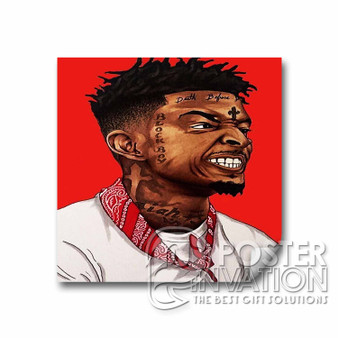 21 Savage Custom Square Sticker 2x2 Inch 3x3 Inch 4x4 Inch 6x6 Inch Cars Motorcycles Home Wall Decor
