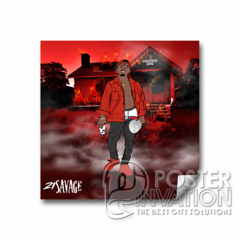 21 Savage Slaughter Gang Custom Square Sticker 2x2 Inch 3x3 Inch 4x4 Inch 6x6 Inch Cars Motorcycles Home Wall Decor