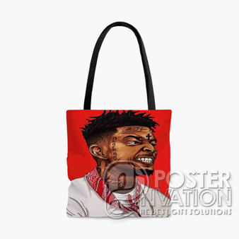 21 Savage Custom Tote Bag AOP Polyester S M L Comfort Fashionable Totebags Unisex Stylish Bag Perfect Gift